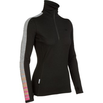 Icebreaker Bodyfit 260 Vertex Base Layer Top - Merino Wool, Zip Neck, Long Sleeve (For Women) in Black/Cherub