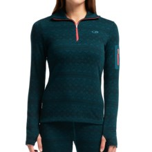 Icebreaker Bodyfit 260 Vertex Base Layer Top - UPF 30+, Merino Wool, Long Sleeve (For Women) in Night/Grapefruit/Night - Closeouts