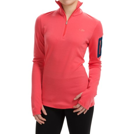 Icebreaker BodyFit 260 Vertex Base Layer Top UPF 30+, Merino Wool, Zip Neck, Long Sleeve (For Women)
