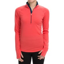 Icebreaker BodyFitZONE 200 Base Layer Top - Merino Wool, UPF 40+, Zip Neck, Long Sleeve (For Women) in Grapefruit/Night/Night - Closeouts