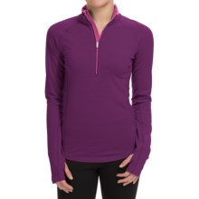 Icebreaker BodyFitZONE 200 Base Layer Top - Merino Wool, UPF 40+, Zip Neck, Long Sleeve (For Women) in Vino/Shocking/Shocking - Closeouts