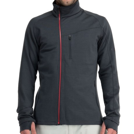 Icebreaker Carve GT 320 Shirt - Full Zip, Long Sleeve (For Men) in Walnut/Rocket