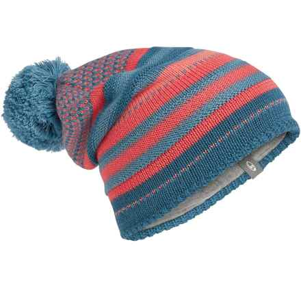 Icebreaker Chateau Slouchy Beanie - Merino Wool (For Men and Women) in Shore/Tundra/Grapefruit - Closeouts