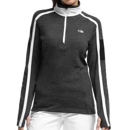Icebreaker Chateau Sweater - Merino Wool, Zip Neck (For Women) in Jet Heather/White/Black - Closeouts
