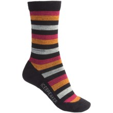 Icebreaker City Lite Socks - Merino Wool, Crew (For Women) in Black/Red/Orange - 2nds