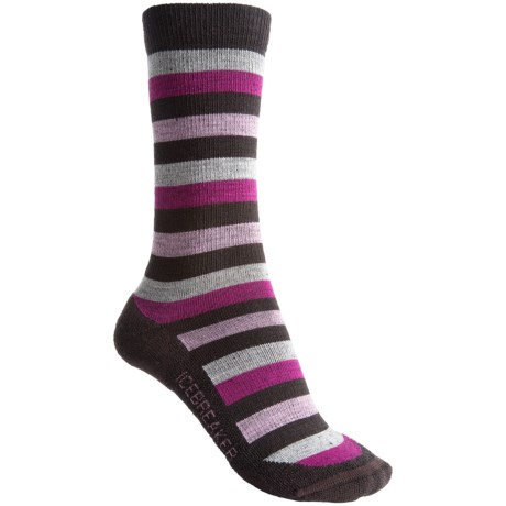 Icebreaker City Lite Socks - Merino Wool, Crew (For Women) in Java/Bone/Cranberry/Rose