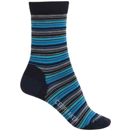 Icebreaker City Ultralite Stripe Tease Socks - Merino Wool, 3/4 Crew (For Women) in Admiral/Pelorus/Glacier - 2nds