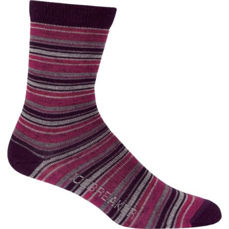 Icebreaker City Ultralite Stripe Tease Socks - Merino Wool, 3/4 Crew (For Women) in Bordeaux Heather/Cherub/Ruby