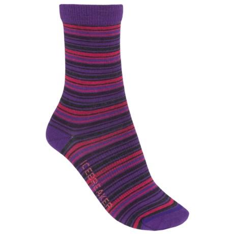 Icebreaker City Ultralite Stripe Tease Socks - Merino Wool, 3/4 Crew (For Women) in Emperor/Jet Heather/Cherub