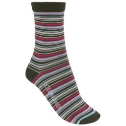 Icebreaker City Ultralite Stripe Tease Socks - Merino Wool, 3/4 Crew (For Women) in Ivy Heather/Cherub/Teardrop