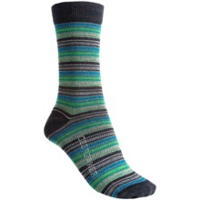 Icebreaker City Ultralite Stripe Tease Socks - Merino Wool, 3/4 Crew (For Women) in Jet/Gulf/Turf - 2nds