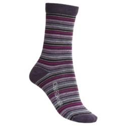 Icebreaker City Ultralite Stripe Tease Socks - Merino Wool, 3/4 Crew (For Women) in Silk/Java/Cranberry