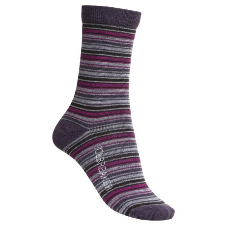 Icebreaker City Ultralite Stripe Tease Socks - Merino Wool, 3/4 Crew (For Women) in Silk/Java/Cranberry