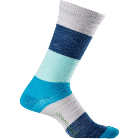 Icebreaker City Ultralite Stripey Crew Socks - Merino Wool (For Men) in Blizzard/Teardrop/Gulf