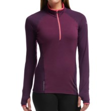 Icebreaker Comet Zip Neck Shirt - UPF 40+, Merino Wool, Long Sleeve (For Women) in Maroon/Vino/Shocking - Closeouts
