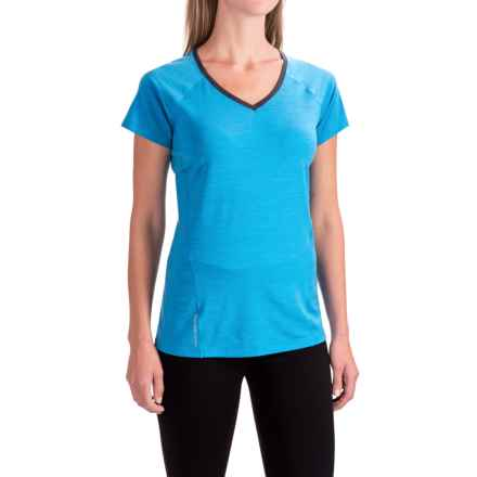 Icebreaker Cool-Lite Spark Shirt - UPF 30+, Merino Wool, Short Sleeve (For Women) in Cyan/Cyan/Panther - Closeouts