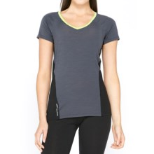 Icebreaker Cool-Lite Spark Shirt - UPF 30+, Merino Wool, Short Sleeve (For Women) in Panther/Black/Aloe - Closeouts