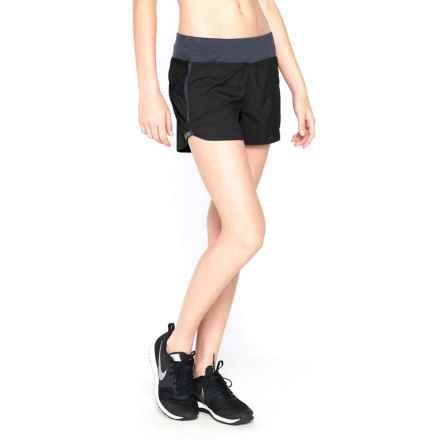 Icebreaker Cool-Lite Spark Shorts - UPF 30+, Stretch Merino Wool Built-In Briefs (For Women) in Black/Panther - Closeouts