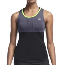 Icebreaker Cool-Lite Spark Tank Top - UPF 30+, Merino Wool (For Women) in Panther/Black/Aloe - Closeouts
