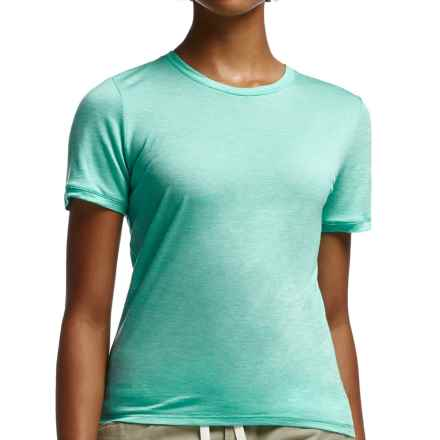 Icebreaker Cool-Lite Sphere Stripe Shirt - UPF 30+, Merino Wool, Short Sleeve (For Women) in Patina/Snow - Closeouts