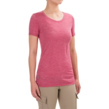 Icebreaker Cool-Lite Sphere Stripe Shirt - UPF 30+, Merino Wool, Short Sleeve (For Women) in Raspberry/Snow - Closeouts