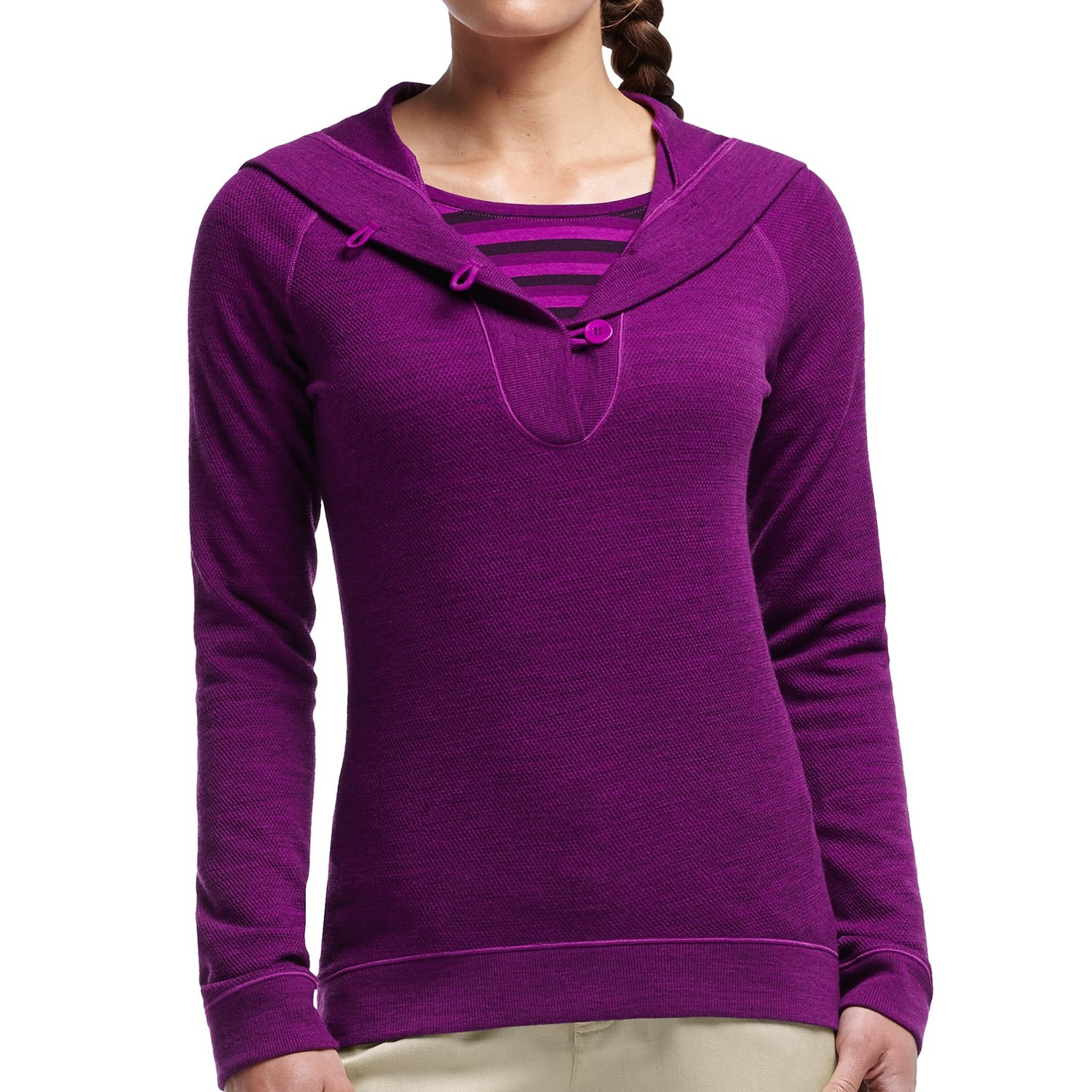 Icebreaker crave hooded shirt merino wool upf 20 long for Merino wool shirt womens