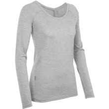 Icebreaker Crush Scoop Shirt - Merino Wool, Long Sleeve (For Women) in Blizzard Heather - Closeouts