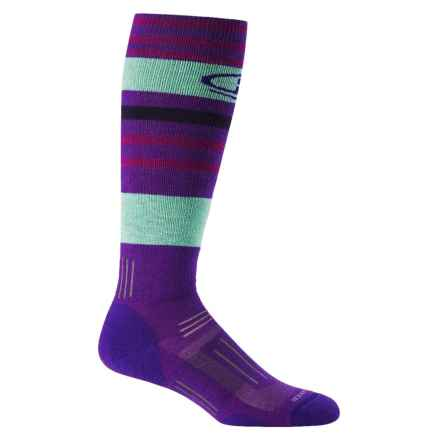 Icebreaker CSN Ski Socks - Merino Wool, Over the Calf (For Women) in Emperor/Teardrop/Lotus - 2nds