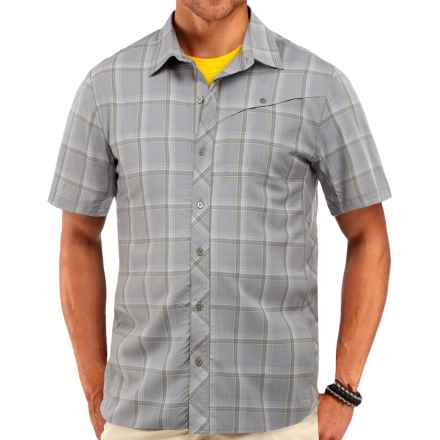 Icebreaker Departure Plaid Shirt - UPF 30, Merino Wool, Short Sleeve (For Men) in Fossil Plaid - Closeouts