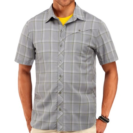 Icebreaker Departure Plaid Shirt UPF 30, Merino Wool, Short Sleeve (For Men)