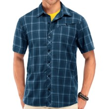 Icebreaker Departure Plaid Shirt - UPF 30, Merino Wool, Short Sleeve (For Men) in Night - Closeouts
