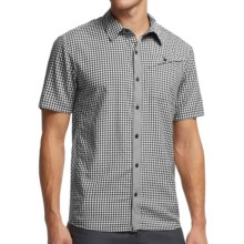 Icebreaker Departure Plaid Shirt - UPF 30+, Merino Wool, Short Sleeve (For Men) in Monsoon/Snow - Closeouts