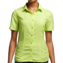 Icebreaker Destiny Check Shirt - UPF 30+, Merino Wool, Short Sleeve (For Women) in Aloe - Closeouts
