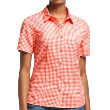Icebreaker Destiny Check Shirt - UPF 30+, Merino Wool, Short Sleeve (For Women) in Grapefruit/Snow - Closeouts