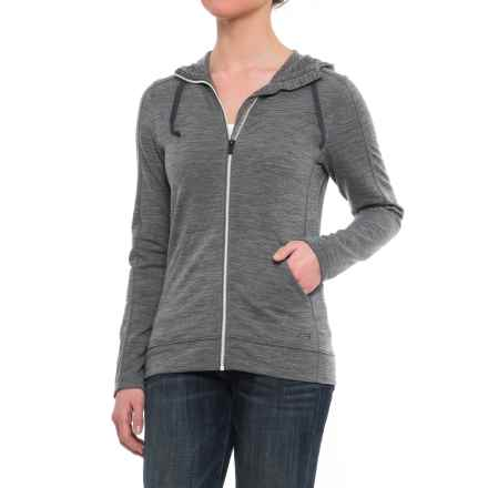 Icebreaker Dia Jacket - Merino Wool (For Women) in Gritstone Heather/Snow/Gritstone Heather - Closeouts
