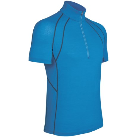 Icebreaker GT 150 Run Quest Shirt - Merino Wool, Zip Neck, Short Sleeve (For Men) in Force