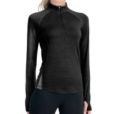 Icebreaker GT 200 Pace Base Layer Top - Merino Wool, Zip Neck, Long Sleeve (For Women) in Black/Silver