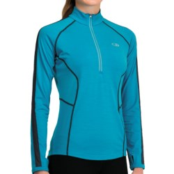 Icebreaker GT 200 Quest Zip Neck Base Layer Top - UPF 50+, Merino Wool, Long Sleeve (For Women) in Panther