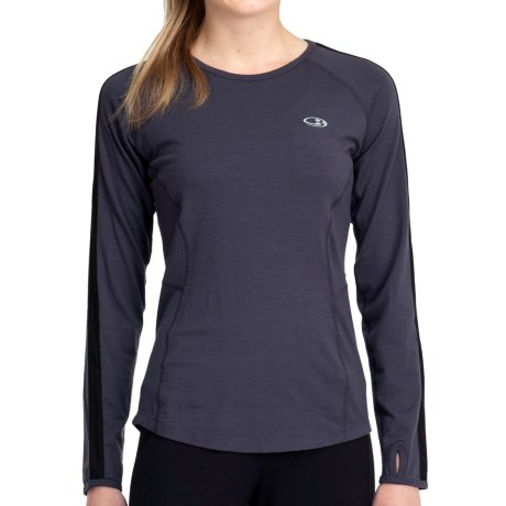 Icebreaker GT 200 Run Quest T-Shirt - Merino Wool, Long Sleeve (For Women) in Panther