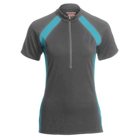 Icebreaker GT Bike Grace Cycling Jersey - Merino Wool, Zip Neck, Short Sleeve (For Women) in Monsoon/Island