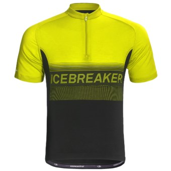 Icebreaker GT Bike Team Cycling Jersey - Merino Wool, Zip Neck, Short Sleeve (For Men) in Monsoon