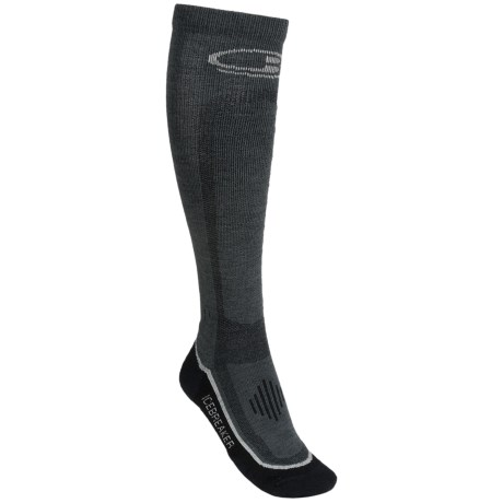 Icebreaker GT Ski Lite Socks - Merino Wool, Over-the-Calf (For Women) in Oil/Silver/Black