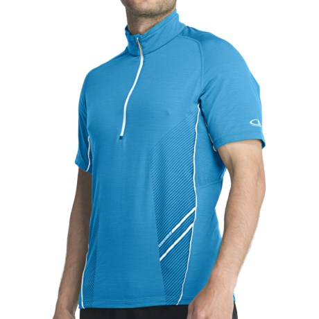 Icebreaker GT Sonic Shirt - UPF 40+, Merino Wool, Zip Neck, Short Sleeve (For Men) in Laguna