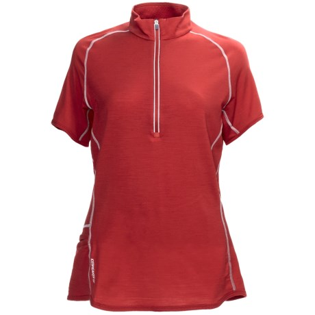 Icebreaker GT150 Dash Base Layer Top - Merino Wool, Zip Neck, Short Sleeve (For Women) in Poppy