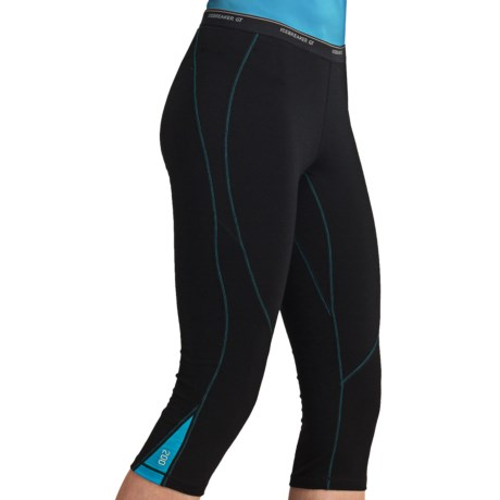 Icebreaker GT200 Pace Legless Capris - Stretch Merino Wool (For Women) in Black/Gulf Stitch