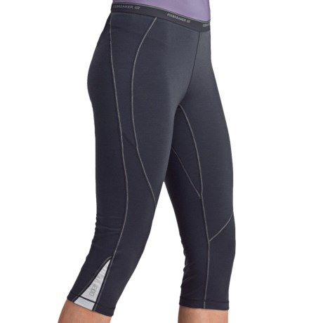 Icebreaker GT200 Pace Legless Capris - Stretch Merino Wool (For Women) in Panther