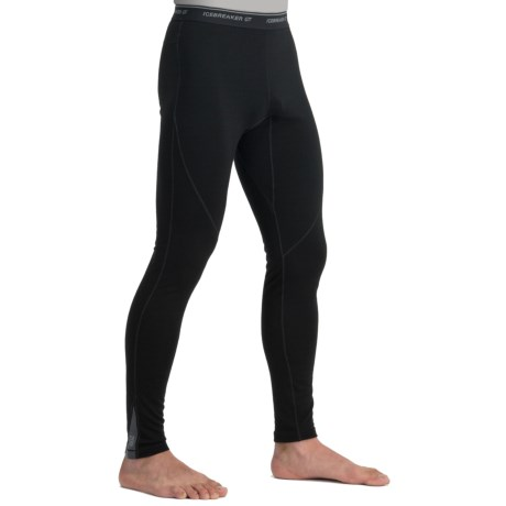Icebreaker GT200 Sprint Leggings - Merino Wool (For Men) in Black/Monsoon