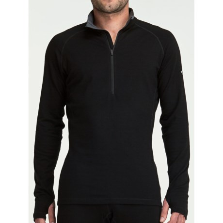 Icebreaker GT260 Pursuit Base Layer Top - Merino Wool, Zip Neck, Long Sleeve (For Men) in Black/Monsoon