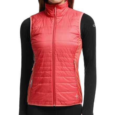Icebreaker Helix MerinoLoft Vest - Insulated, Merino Wool Lining (For Women) in Grapefruit/Cameo/Cameo - Closeouts