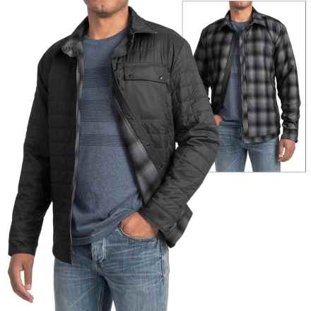 Icebreaker Helix Shirt Jacket - Reversible, Insulated (For Men) in Black/Metro Heather/Stealth - Closeouts